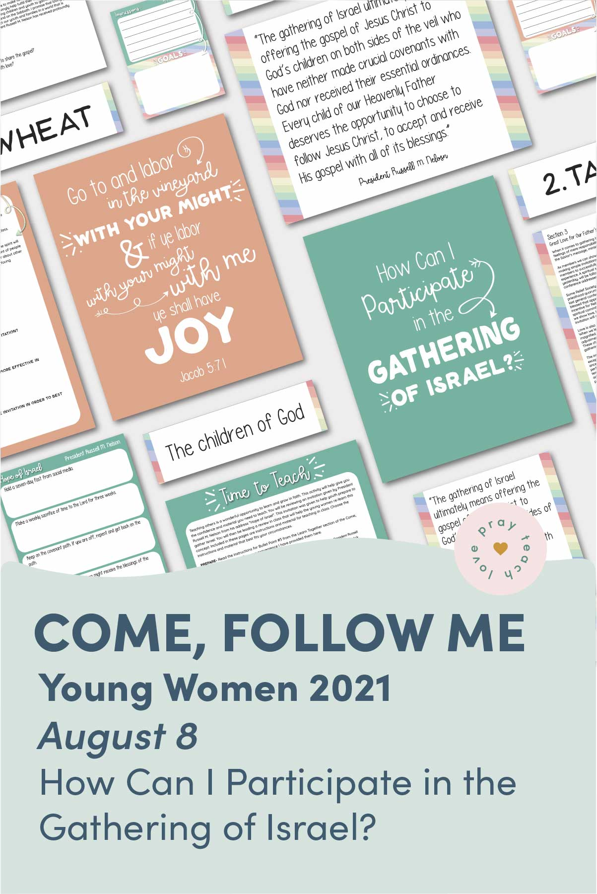 """Young Women Doctrinal Topic August 8: """"How Can I Participate in the Gathering of Israel?"""" Printable Lesson Packet for Doctrine and Covenants 85–87 www.LovePrayTeach.com"""